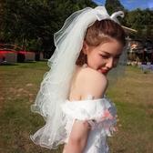 新款新娘頭紗韓式短款多層蓬蓬頭紗超仙 全館免運