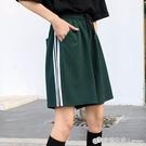 籃球短褲女夏寬鬆潮ins高腰直筒顯瘦百搭寬管五分褲三條桿運動褲 檸檬衣舍