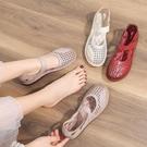 夏季媽媽鞋涼鞋真皮軟底舒適鏤空閏月紅鞋中老年洞洞鞋女平底防滑