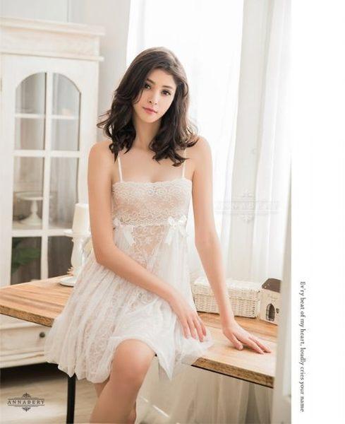 睡衣 性感睡衣【中大尺碼】純白透視雙層蕾絲薄紗情趣性感睡衣 星光密碼B055