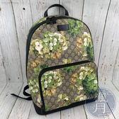 BRAND楓月 GUCCI 古馳 406370 綠天竺葵 後背包 書包 印花 精品