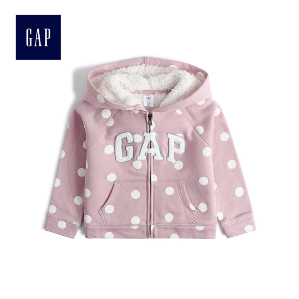 Gap女嬰幼童 立體風格logo連帽外套 497325-粉色