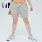 Gap女童 Logo棉質法式圈織短褲 701392-淺灰色