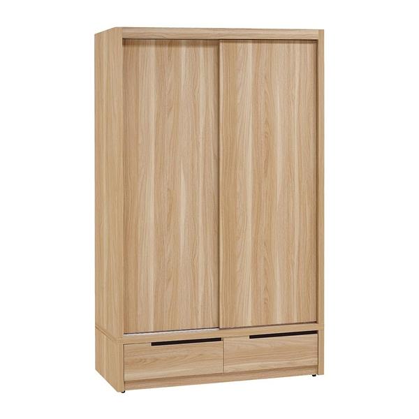 【森可家居】卡妮亞4尺推門衣櫃 8ZX416-2 衣櫃 木紋質感