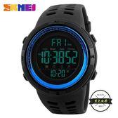 男士戶外運動手錶 數字式夜光防水LED電子錶多功能學生腕錶 ~黑色地帶
