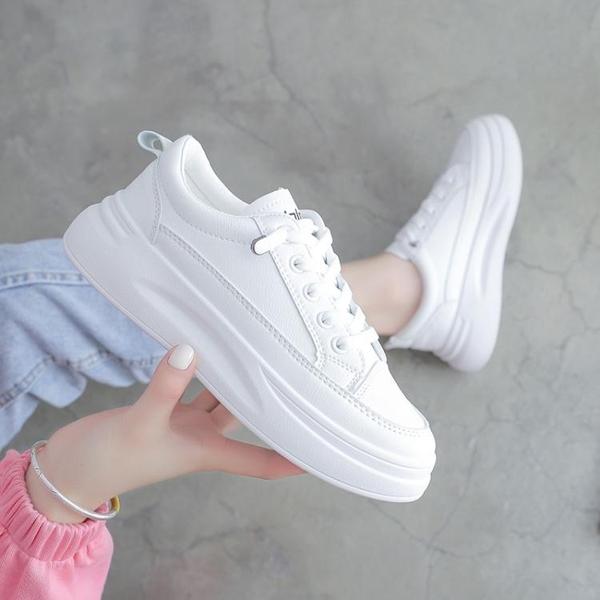 小白鞋女2021新款春季百搭網紅板鞋厚底老爹鞋爆款運動休閒白鞋潮 伊蘿