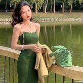 吊帶洋裝 港風復古2021年夏季新款方領珍珠吊帶裙性感緊身顯瘦針織連身裙女 小天使 99免運