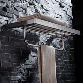 浴室掛件 304不銹鋼拉絲折疊活動浴巾架浴室掛件雙層毛巾架衛生間置物架JD BBJH