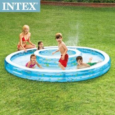 【INTEX】同心圓泳池279*36cm(57143)+手機防水袋(59800)