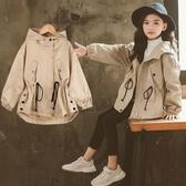 女童風衣秋季韓版中大童洋氣連帽中長款女孩春秋外套潮