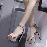 恨天高模特女鞋15cm超高跟涼鞋粗跟舞臺演出鞋走秀黑色車模 LJ4673【優品良鋪】