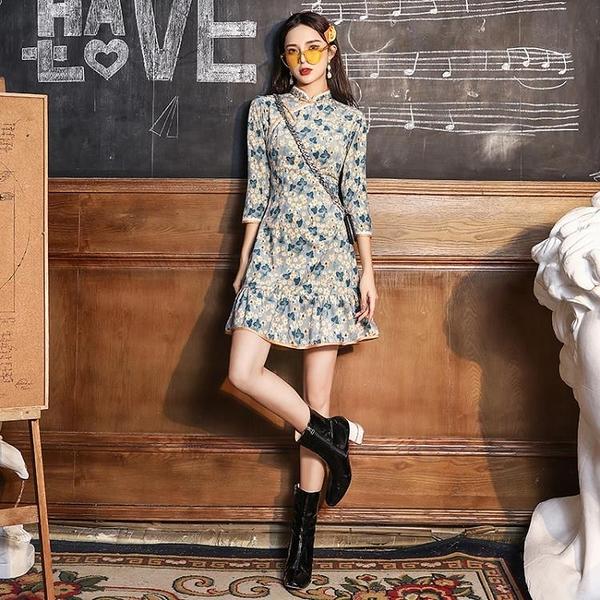 禮服旗袍2021年新款年輕款少女新式改良洋裝日常可穿修身復古短款夏 滿天星