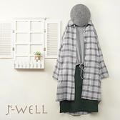 J-WELL 素色上衣純棉格紋長版上衣小A版型裙三件組(組合A610 9J1015灰+9J1067灰+9J1092青)