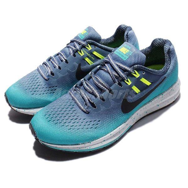 【五折特賣】 Nike 慢跑鞋 Wmns Air Zoom Structure 20 Shield 藍 黑 漸層 防潑水 女鞋 【PUMP306】 849582-400