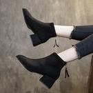 單款軟皮馬丁靴女英倫風方頭靴子女2020秋冬新款粗跟短靴中跟百搭 降價兩天