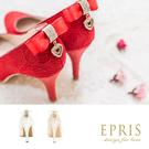 現貨 MIT小中大尺碼新娘婚鞋 心之邱比特蕾絲蝴蝶結水鑽真皮腳墊高跟鞋子21-26EPRIS艾佩絲-心動紅