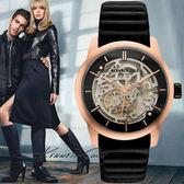 Kenneth Cole 黑玫瑰金框雙面鏤空波浪皮帶機械錶x44mm KC10030789  貨|名人鐘錶高雄門市