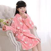 一件85折免運--女童睡袍秋冬季加厚兒童女孩公主珊瑚絨浴袍寶寶嬰兒小孩長版睡衣