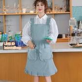 圍裙 純棉公主圍裙女時尚家用廚房防水防油荷葉邊日系工作圍腰【風之海】