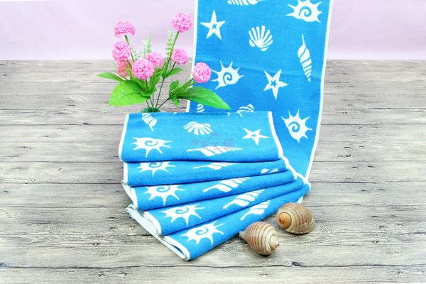 超厚58兩170g 純棉毛巾 運動毛巾 無毒 厚實耐用超吸水 / 海洋之星 淺藍 / 台灣製造 【快樂主婦】