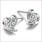 鍍銀耳飾品耳環 柔美心形鍍銀耳釘 歐美飾品【多多鞋包店】s294