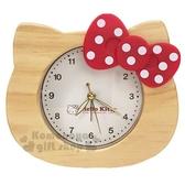 〔小禮堂〕Hello Kitty 大臉造型木製鬧鐘《棕紅》桌鐘.時鐘 3118055-50004