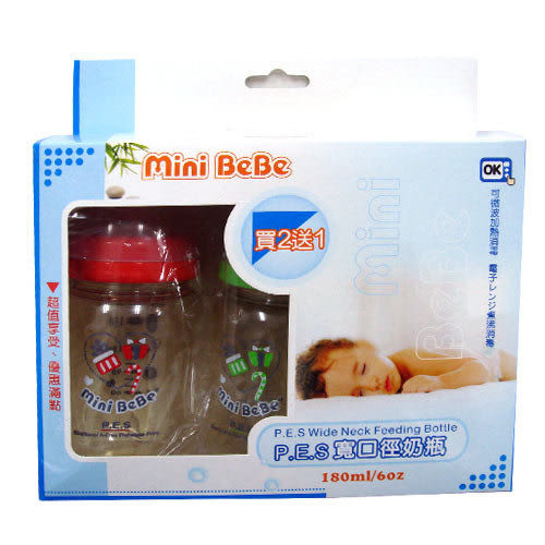 【奇買親子購物網】Mini Bebe PES寬口徑奶瓶180ml(3入)