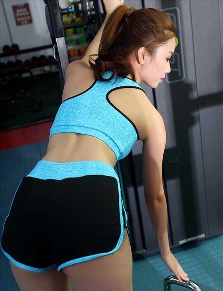 (藍L)(贈短褲)女衣無鋼圈女衣速乾運動內衣褲速乾工字美背運動內衣