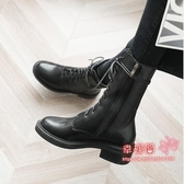 馬丁靴 2020秋冬新款中筒靴女粗跟側拉鍊機車短靴加絨學生英倫風馬丁靴 1色34-40碼