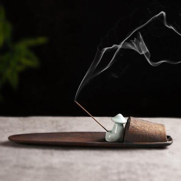 創意陶瓷香插香座 線香臥點插香器臺香道檀香托盤 家用佛具香薰爐