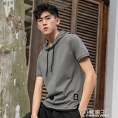 男裝短袖t恤連帽休閒寬鬆夏季新款純色拼接假兩件帶帽 中秋節全館免運