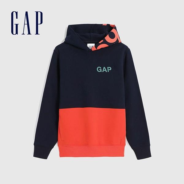 Gap男裝 Logo活力撞色連帽休閒上衣 618885-海軍藍