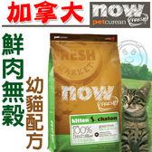 【 培菓平價寵物網 】now鮮肉無穀幼貓糧8磅3.63kg