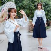 原創繡花改良漢服女日常漢元素刺繡交領中長裙套 快速出貨