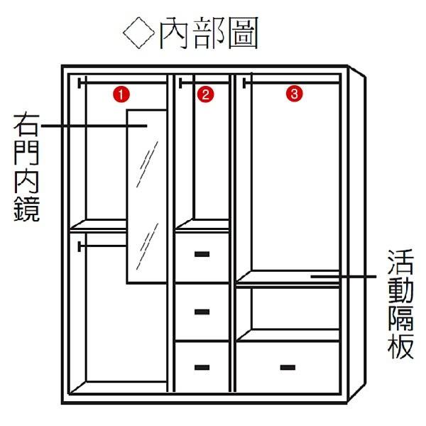 【水晶晶家具/傢俱首選】CX9457-1 密卡登2.5*6.5呎白橡色雙吊衣櫃《No.1‧單只》