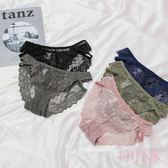 i PINK 交織情綿 側邊簍空織帶蕾絲三角內褲(5色/F)