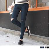 OB嚴選《BA2616-》素面抓破彈性棉感修身牛仔窄管褲.4色--適 S~XL