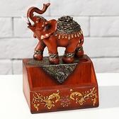 創意商務擺飾小禮品 歐式仿古樹脂工藝吉祥大象名片盒名片座擺件    3C優購