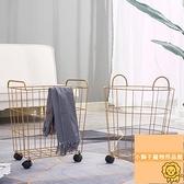 鐵藝臟衣籃北歐金屬筐帶輪子酒店浴室收納桶工業風臟衣簍【小獅子】