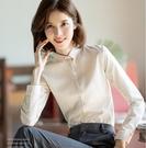 職業裝白襯衫女長袖小領正裝免燙工裝襯衣2019新款打底衫YJ2573『東京衣社』