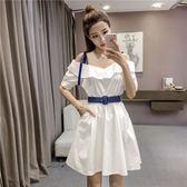 洋裝閨蜜衣2018夏季新款韓版性感一字領短袖純色洋裝女顯瘦收腰大擺裙短裙