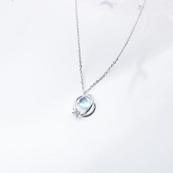 日本S925純銀小清新藍琉璃幻想星球項鍊宇宙極光行星鎖骨鍊女森系