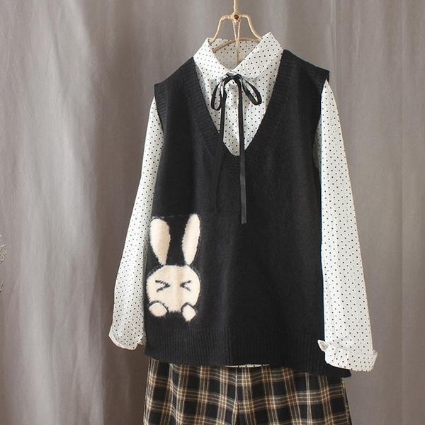 現貨 兔子緹花針織背心針織衫毛衣【78-24-81467801-19】ibella 艾貝拉