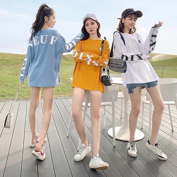 出清188 韓系寬鬆時尚后背印花字母t恤單品長袖上衣