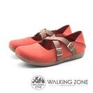 【南紡購物中心】WALKING ZONE 皮革雙帶兩穿休閒鞋 女鞋 - 紅 (另有藍)