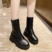中筒靴 馬丁靴女英倫風網紅百搭中筒靴2020秋冬厚底側拉錬瘦瘦靴潮 618購物節