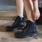 女款短靴英倫風馬丁靴秋冬百搭加絨低幫女靴 黑色【邻家小鎮】