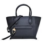 【南紡購物中心】LONGCHAMP MAILBOX系列牛皮前口袋手提/斜背兩用包(小/黑)
