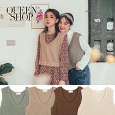 Queen Shop【01012335】V領破洞造型短版針織背心 四色售*現+預*