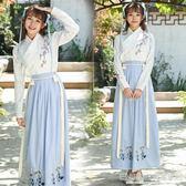 漢服 漢服冬裝女古裝改良日常裝仙女清新淡雅學生中國風長裙古風套裝女 宜室家居